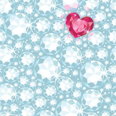 Ruby heart among diamonds seamless pattern background