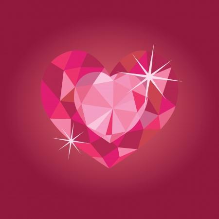 Ruby heart on red backrgound