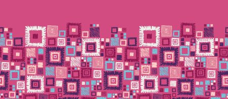 horizontal: Colorful geometric squares horizontal seamless pattern border