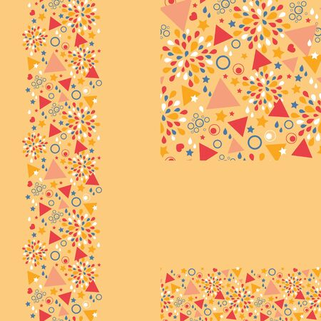 Set of abstract celebration seamless pattern and borders Vector