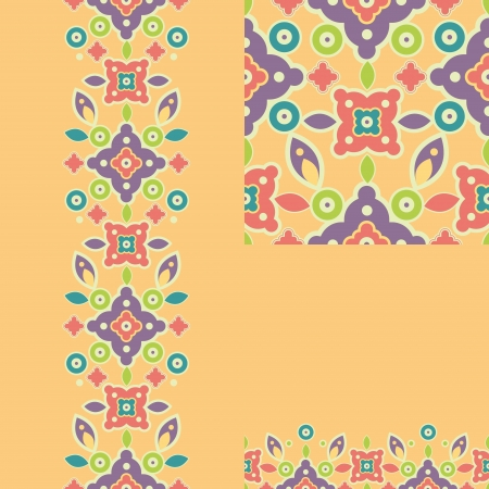 Set of colorful shapes seamless pattern and borders backgrounds Stock Vector - 16820390