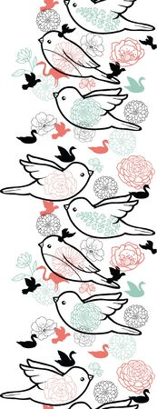 Birds silhouettes vertical seamless pattern background border