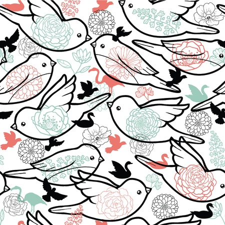 Birds silhouettes seamless pattern background Stock Vector - 16820395