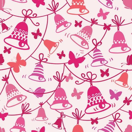 ding dong: Bells and butterflies seamless pattern background