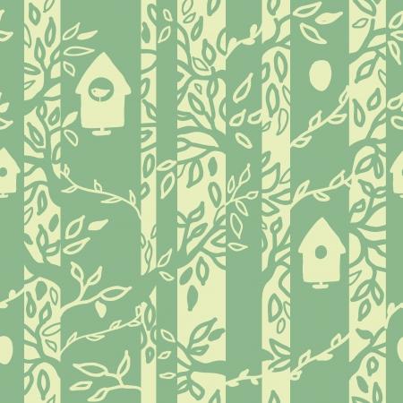 textile care: Aves casas de fondo sin fisuras patr�n bosque Vectores