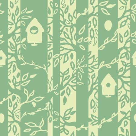 Birds houses in forest seamless pattern background