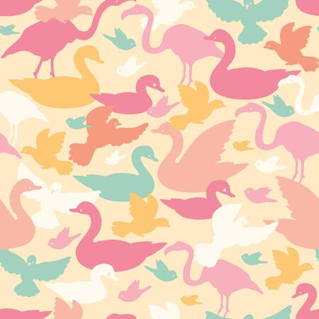 Colorful birds silhouettes seamless pattern background Vector