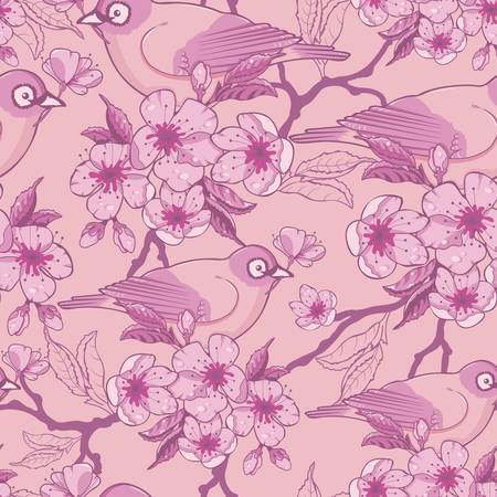 postcard: Birds among sakura flowers seamless pattern background Illustration