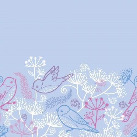 Pastel birds and flowers horizontal seamless pattern border photo
