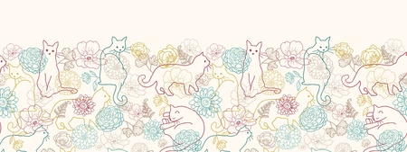 Cats among flowers horizontal seamless pattern background border Stock Vector - 16820409