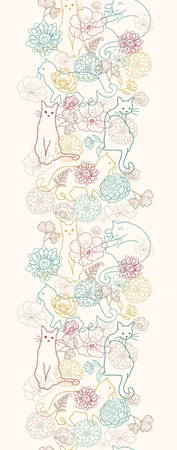 Cats among flowers vertical seamless pattern background border Vector