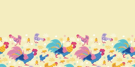 Fun chickens horizontal seamless pattern background border Vector