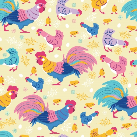 Fun chickens seamless pattern background