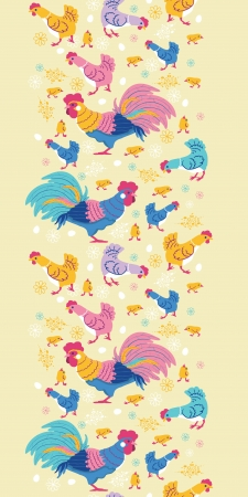 Fun chickens vertical seamless pattern background border Vector
