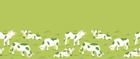 fell: Cows on the field horizontal seamless pattern background border