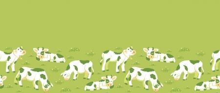 cow bells: Vacas en el campo horizontal frontera de fondo sin fisuras patr�n Vectores