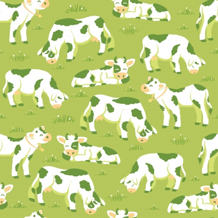 Cows on the field seamless pattern background Vector