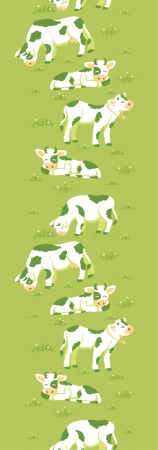 Cows on the field vertical seamless pattern background border