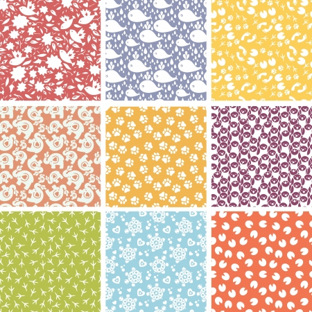 Set of nine cute elements seamless patterns backgrounds Vector