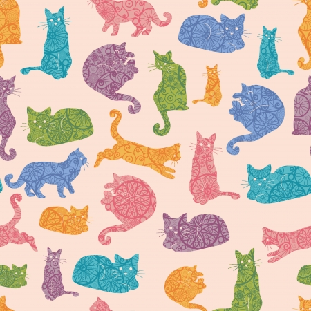 fashion illustration: Colorful cats silhouettes seamless pattern background