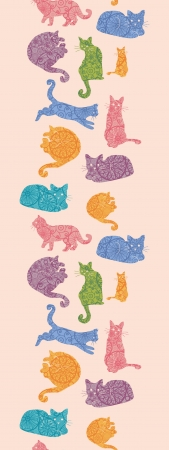 Colorful cats silhouettes vertical seamless pattern background border Vector