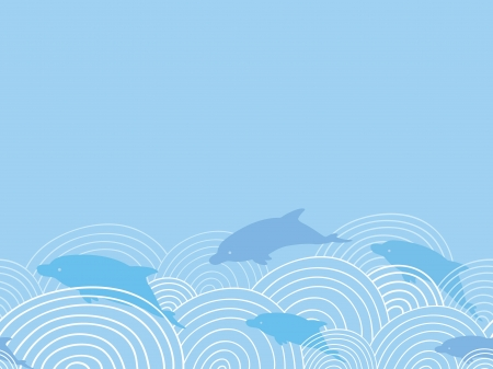 among: Dolphines among waves horizontal seamless pattern background