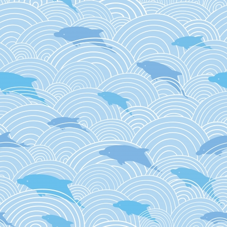 Dolphines among waves seamless pattern background Vector