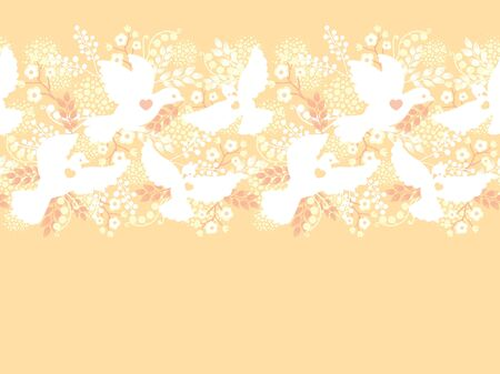 Wedding doves among flowers horizontal seamless pattern border Stock Vector - 16820475