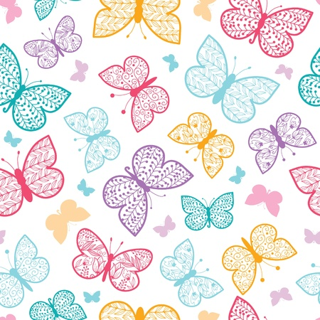 Floral butterflies seamless pattern background Vector