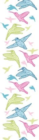 Colorful hummingbirds vertical seamless pattern border Stock Vector - 16820461