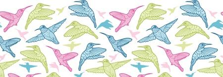 horizontal: Colorful hummingbirds horizontal seamless pattern border