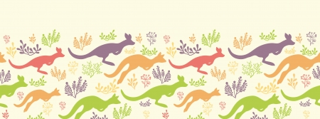 Jumping kangaroo horizontal seamless pattern border Vector