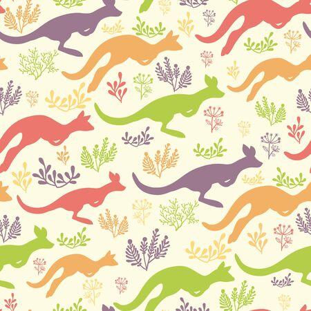 australian animals: Jumping kangaroo seamless pattern background Illustration