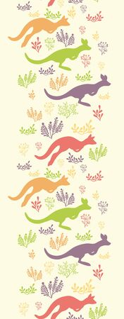 Jumping kangaroo vertical seamless pattern border Stock Vector - 16820465