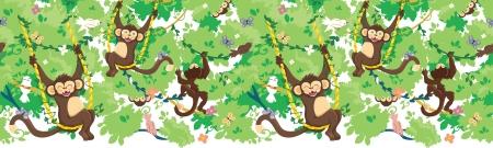 행복 원숭이 가로 원활한 패턴 테두리 일러스트