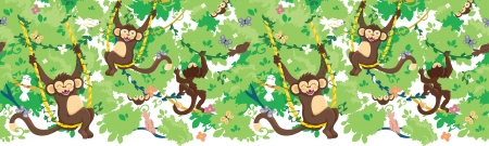 Happy monkeys horizontal seamless pattern border