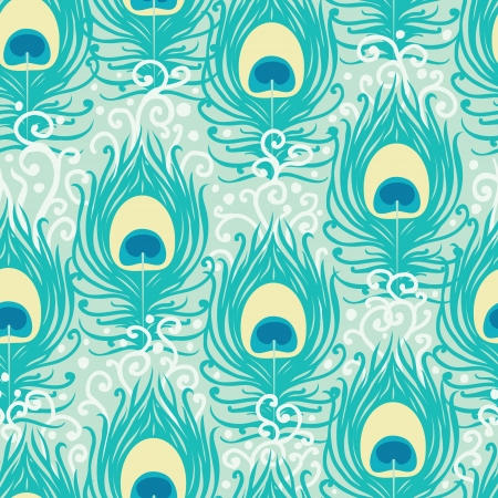Peacock feathers seamless pattern background Illustration