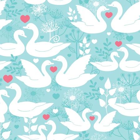 愛のシームレスなパターン背景の白鳥  イラスト・ベクター素材