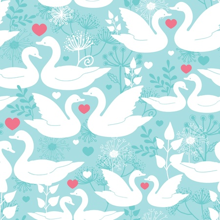 swans: Swans in love seamless pattern background