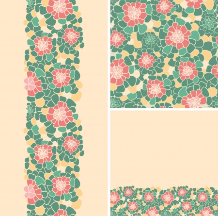 Set of abstract flowers seamless pattern and borders backgrounds Vector