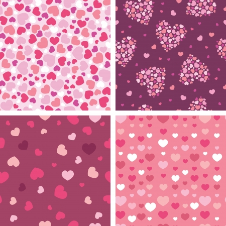 Set of four romantic hearts seamless patterns backgrounds Vector