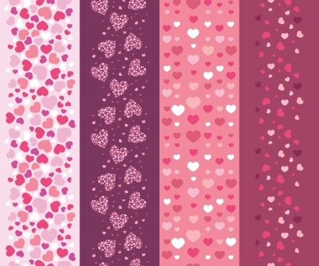 Set of four romantic hearts vertical seamless patterns border Vector