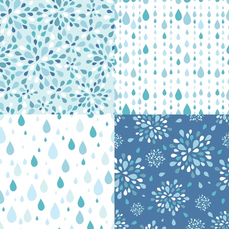rain drop: Set of four raindrops seamless patterns backgrounds