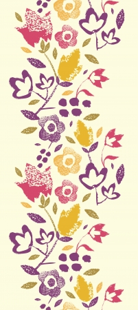 Painting Texture flowers vertical seamless pattern border Vector