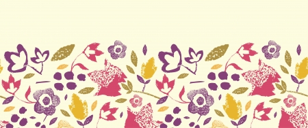horizontal: Painting Texture flowers horizontal seamless pattern border Illustration