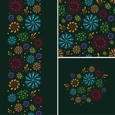 Set of fireworks seamless pattern and borders backgrounds