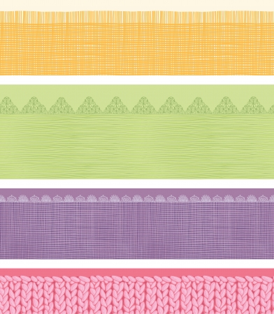 Set of four horizontal textile fabric textures seamless patterns Vector