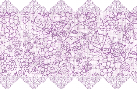 retro lace: Purple lace grape vines horizontal seamless pattern background border