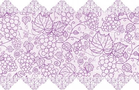 Purple vides de uva de encaje horizontal fronterizos de fondo sin fisuras patrón Foto de archivo - 17195305