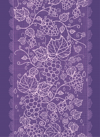 Lace grape vines vertical seamless pattern background border Vector